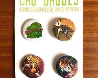 Cab-badges: 4 badges inspired by James Acaster