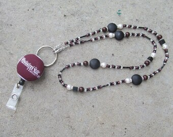 Mississippi State ID Badge Lanyard Bulldogs Beaded Lanyard Maroon and Black ID Badge Holder
