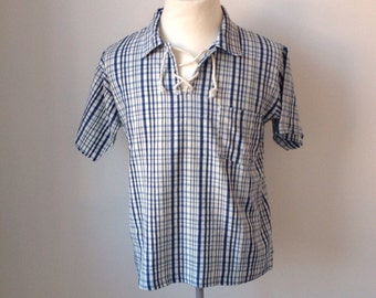Checked lace up shirt