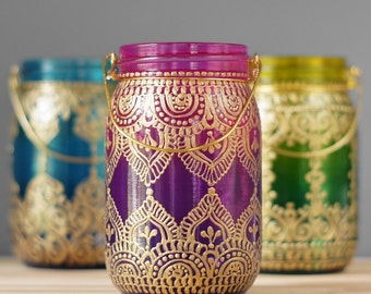 Gypsy Hanging Lantern- Bohemian Style Mason Jar Candle Holder, Ombre Glass From Plum to Hot Pink, Gold Detailing, Henna Design