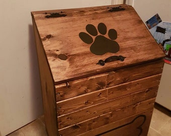 Large Wooden Dog Food Storage Container, Dog Food Bin, Pet Food Keeper,  Puppy