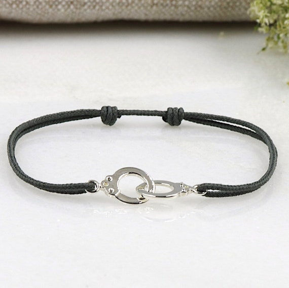 women PM silver handcuffs bracelet massive choice of string