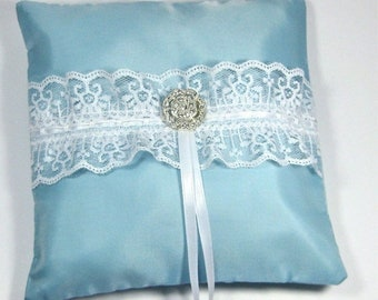 CLOSEOUT SALE Aqua Blue Ring Bearer Pillow trimmed with white lace and rhinestone, something blue ring bearer pillow. turquoise wedding pill