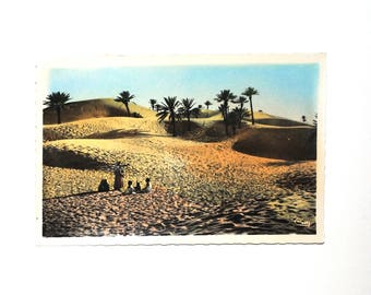 Sand dunes, Palm - Africa map-North, vintage postcard - colorized Africa postcard unwritten