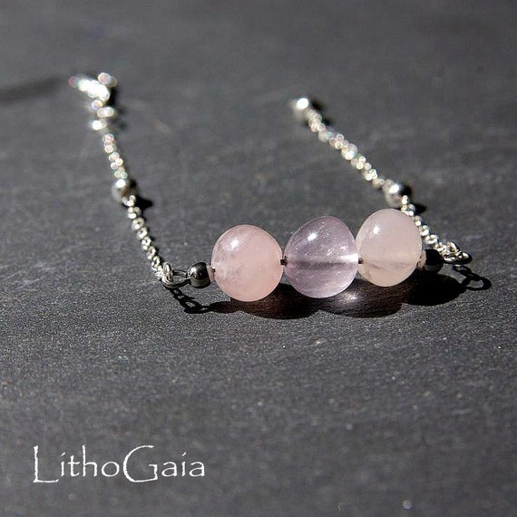 Rose Quartz Bar Bracelet, 925 Sterling Silver, birthstone Bracelet, Rose Quartz jewelry, Zodiac, Gift for Her, Rose Quartz beaded