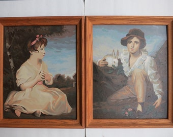 Paint by Number The Age of Innocence And Boy With Rabbit - Pair of Vintage Framed PBN Paintings