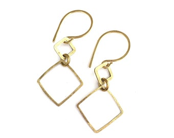 Hammered raw brass simple geometric earrings