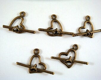 5 Bronze Heart Toggle Clasp Antique Plated Alloy 14mm LF, NF, CF - 5 sets - F4063TC-AB5