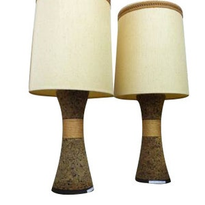 Vintage Pair Of Mid Century Modern Cork Lamps With Original Shades