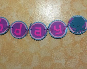 "Girl Under the Sea Animals (Octopus) - ""Happy Birthday"" Banner - Aqua, Pink, and Purple"