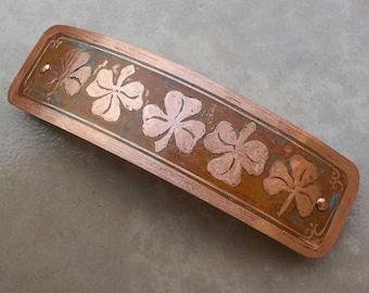 Shamrock Copper Hair Barrette.  Large hand etched artisan metal barrette with shamrock pattern on antiqued copper.