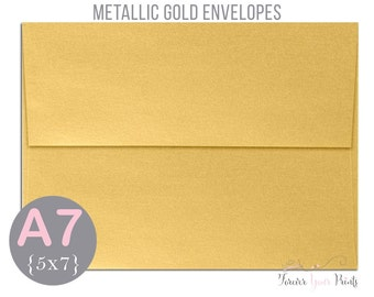 METALLIC GOLD A7 Envelopes, 5x7 Invitation Envelopes, 5x7 Envelopes, Gold Envelopes, Peel and Press Envelopes, Wedding Envelopes
