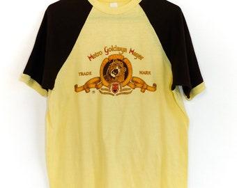 Rare 70s Metro Goldwyn Mayer Trade Mark Ringer T Shirt-50/50~Size Adult Medium/Large~ See Dimensions Below