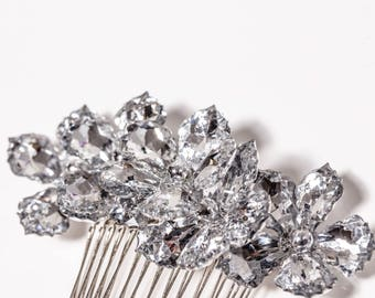 "Hair Comb - Large 4"" Silver Flower Hair Accessory, Silver Comb, Sparkling Flower Comb for Weddings and Prom - Wedding Hair, Prom Hair"