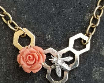 Honeycomb Necklace Bee Necklace Gold Honeycomb Jewelry Save the bees Honeycomb Design Rose Necklace Red Rose Mixed Metal Geometric Necklace