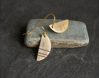 Gold Brass Earrings - Simple Line Marked Half-Circle, Dangle Drop Earrings, Stamped Metal, Geometric Modern Boho Jewellery