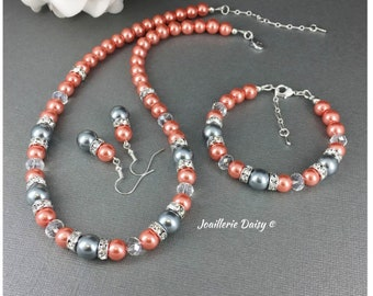 Bridesmaid Jewelry Coral and Grey Necklace Set Coral Bracelet Bridal Bracelet Wedding Jewelry Set Coral Wedding