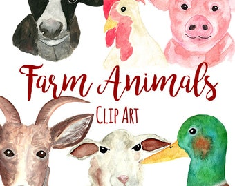 Hand Painted Watercolor Farm Animals ClipArt, INSTANT DOWNLOAD, Watercolor Chicken Clipart, Cow Clipart, Mallard Duck Clipart, Pig Clipart