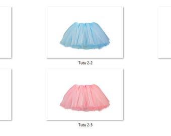 Tutu 2 Overlays Pack 1 Same Tutu 5 different colors Pastel Bright Photoshop PNG Translucent Background