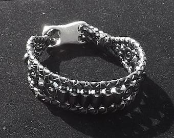 Hematite Braided Leather 4mm