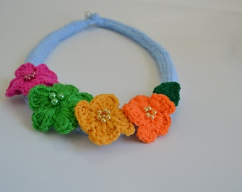 Glamorous colorful Crochet necklace.