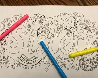 "Coloring page ""Sisters"" with flowers, butterflies, hearts, and ASL ""I love you"" hand"