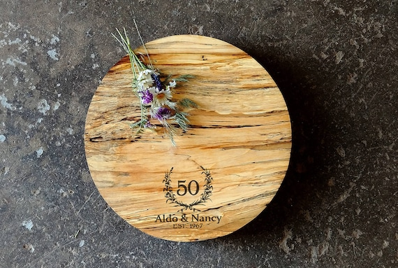 Personalized Spalted Maple Cheese Board Round 13.5 x 2 w/Non Skid Rubber Feet & Wood Butter, Wedding Cheese Board, Anniversary Cheese Board