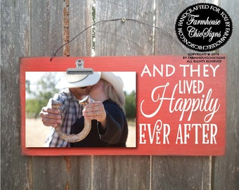 and they lived happily ever after, wedding gift, wedding picture frame, happily ever after, newlywed gift, gift for newlyweds, 207