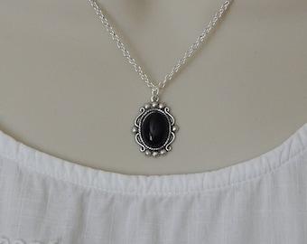 Vintage Style Onyx Necklace, Black Onyx Pendant, Silver Black Onyx Necklace, Oval Pendant