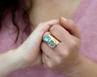 Druzy Cocktail Ring, Double Stones Ring, Gemstones Ring, Aqua & Grey  Mineral Ring,  24K Gold Adjustable Wide Band Ring.