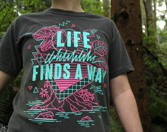 Life Finds A Way T-Shirt and Tank Top | 90s Nostalgia Aesthetic Shirt | Comfort Colors Pepper | Dinosaur Shirt