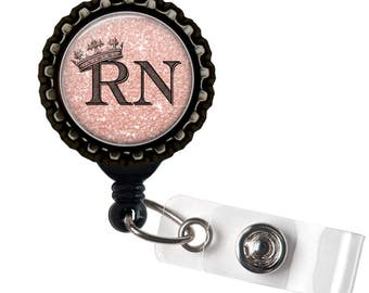 RN ROYALTY- Pink and Black Retractable Badge Reel ID Holder