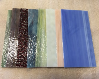 "8""x4"" 8 Assorted Pack Spectrum & Wissmach Stained Glass Sheets and Mosaic Glass Sheets"