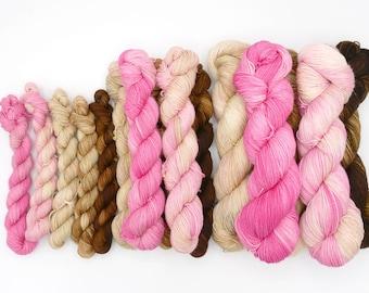 Neapolitan Fade Set Minis, Half Skeins, or Full Size Shawl Set - Dyed to Order