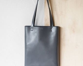 Grey Leather Tote bag No.Tl- 17062