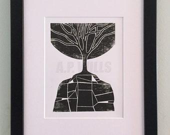 Linocut, Nature Linocut, Tree Print, Art Print, Tree Linocut, Mountain: New Growth