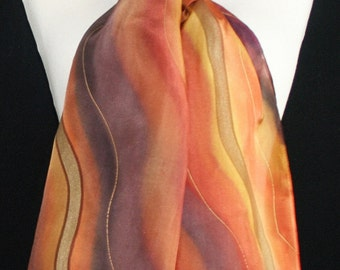 Brown Silk Scarf. Terracotta Hand Painted Silk Shawl. Burgundy Handmade Silk Scarf ARIZONA ROCKS, size 8x54. Birthday, Bridesmaid Gift.