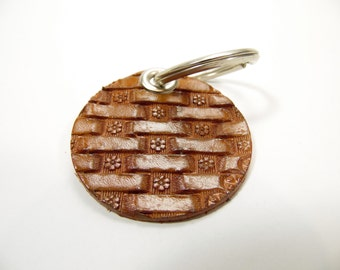 Flower Basketweave Keychain - Hand stamped - Free US shipping