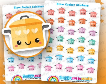 35 Cute Slow Cooker/Crockpot/Cooking Pot/Cookery Planner Stickers, Filofax, Erin Condren, Happy Planner,  Kawaii, Cute Sticker, UK