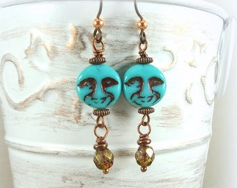 Man in the Moon Earrings, Turquoise Earrings, Nature Theme Earrings, Blue Moon Face, Copper Earrings, Niobium Hypo-Allergenic Ear Wires