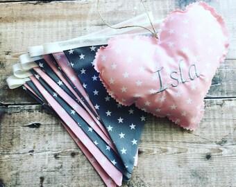 Pink and Grey bunting, Wedding bunting, Baby shower bunting, Birthday party/Wedding decoration, New baby girl, Girs room decoration bunting