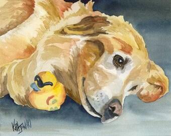 Golden Retriever Art Print of Original Watercolor Painting 8x10