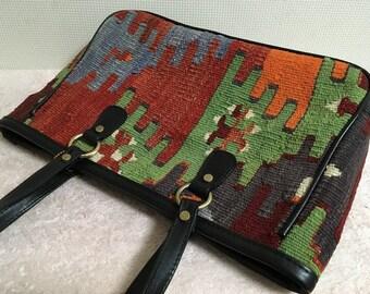 30% OFF FREE Shipping, 2way kilim bag, boho chic bag, Tote bag, Shoulder bag, Handbag, tote Bag