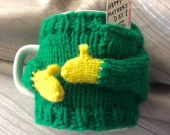 Left handed Coffee cup sweater, Mom, Cup sweater, cup wrap,sweetheart gift,conversation piece, green color mug sweater,office gift, mug-cozy