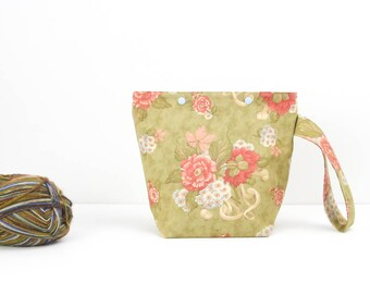 Floral small project bag for knitting, zipperless craft storage bag, crochet project bag