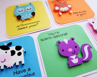 Lunchbox notes, lunch box notes, backpack notes, love notes set of 5 Animals