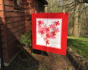 Twisted Heart Pinwheel Handmade Quilt Wallhanging
