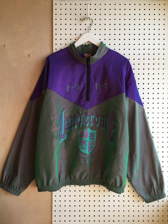 90s Surf Style Gothic Graphic Neon Purple Iridescent Half Zip Pullover Track Jacket Windbreaker ur3ce8tt