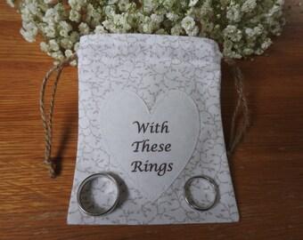 Wedding Ring Bag, Wedding Ring Holder, Ring Holder, Wedding Rings Bag, Wedding Ring Pouch - White with beige leaves
