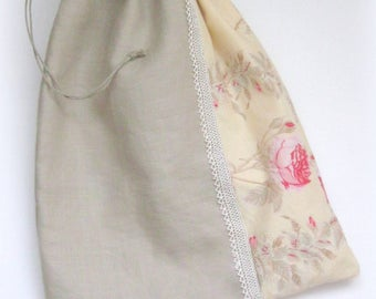 Storage bag linen lace and roses